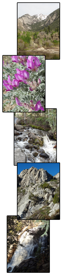 (top to bottom): Bell Canyon lower reservoir, milkvetch, canyon stream, nearby rocky cliffs, Bell Canyon Lower Falls