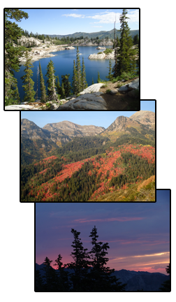 Martha Lake near Catherine's Pass, American Fork Canyon, and and view from Sunset